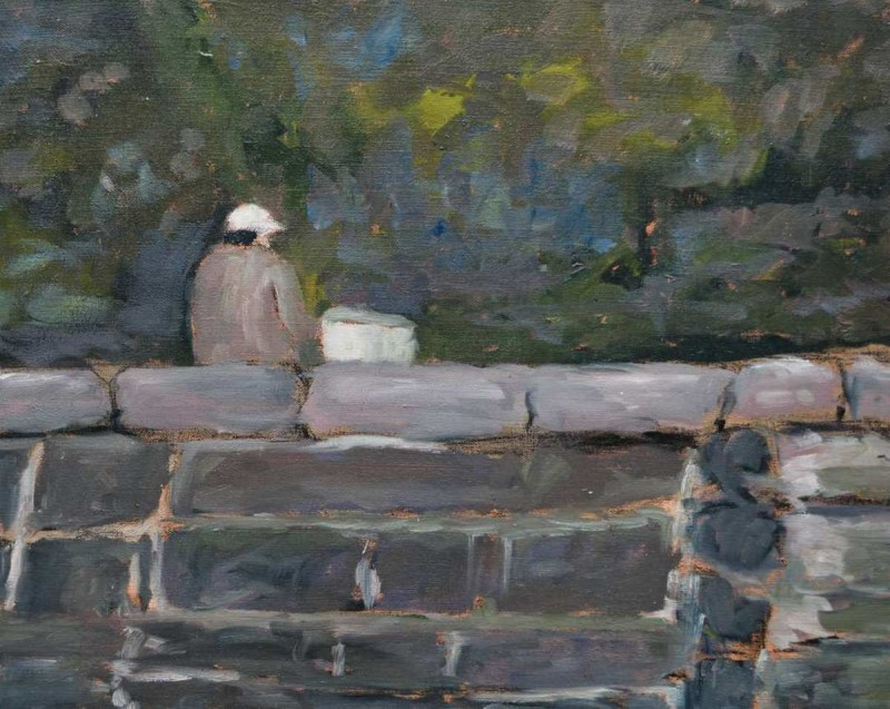 Man on Wall Oil Painting