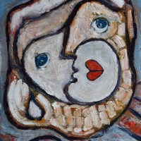 Abstract Impasto Painting Monkey with Heart Lips