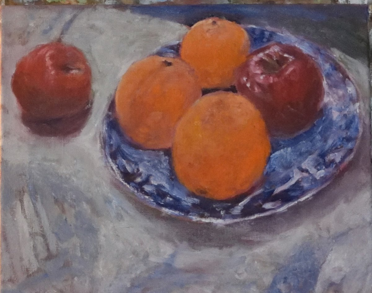 Still Life with Apples and Oranges Painting