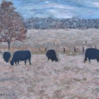 Cows in Field Painting Impressionism