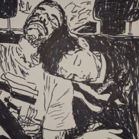 Father and Son Drawing Asleep in Car Screen Print