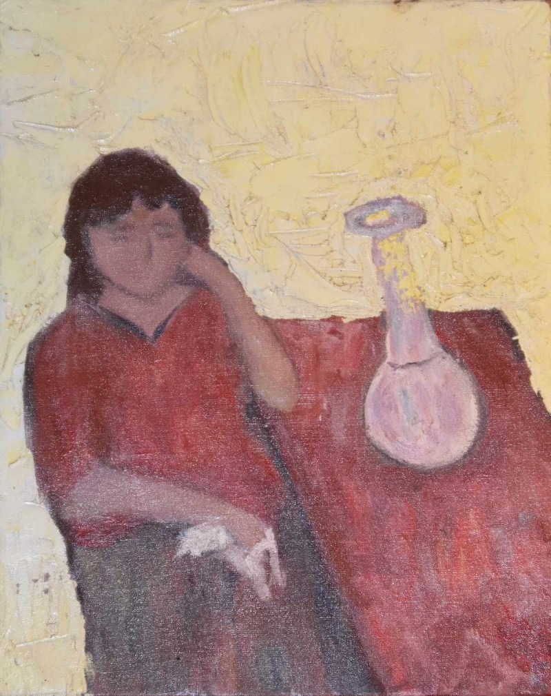 Girl at Table Oil Painting