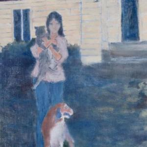 Girl with Cat and Dog Painting by David Michael Jackson