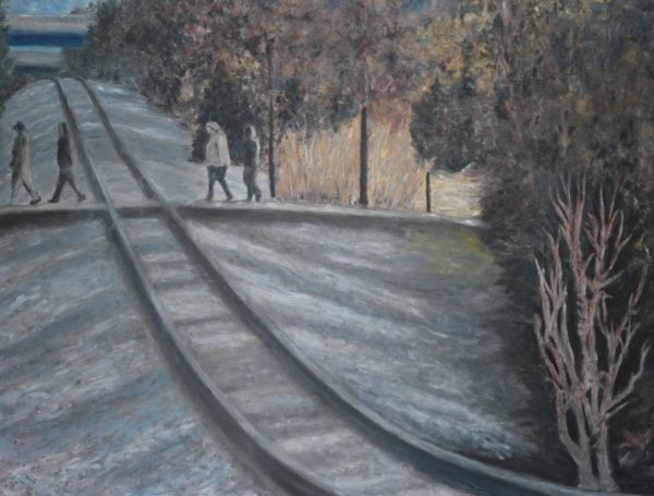 Large Landscape Painting Train Tracks and Gravel