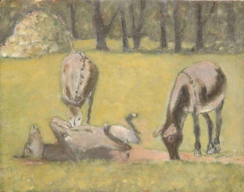 Donkeys Oil Painting in Summer Field