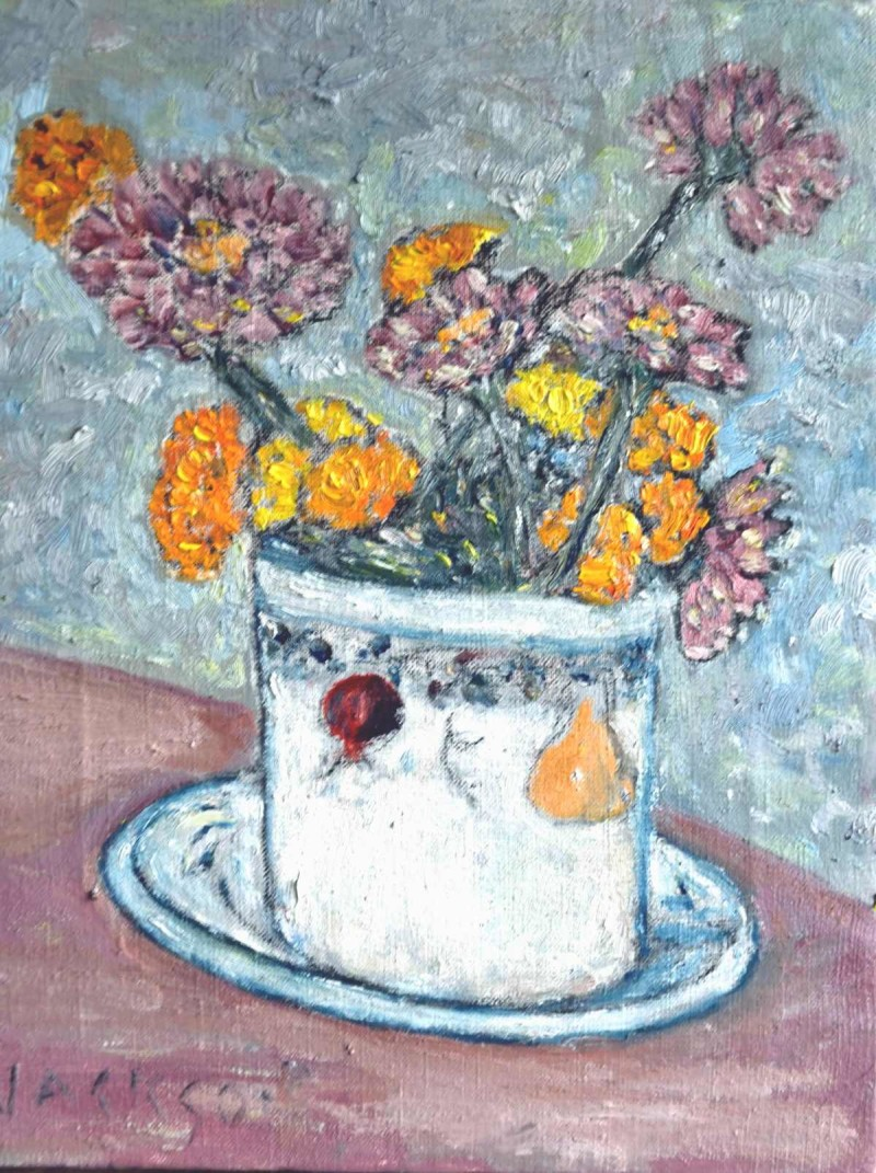 Pot With Flowers Oil Painting
