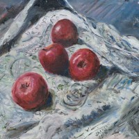 Apple Still Life Painting Red Apples