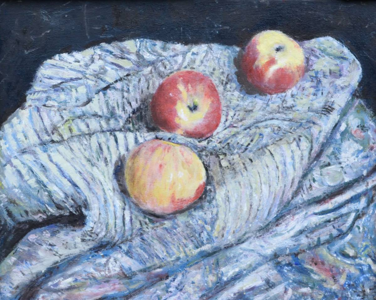 Apples Paintings Three Apples and Cloth