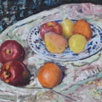Still Life Fruit on Plate with Cloth Painting
