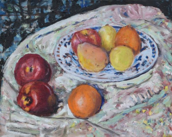 Still Life Fruit on Plate with apples oranges pears and lemons on cloth painting