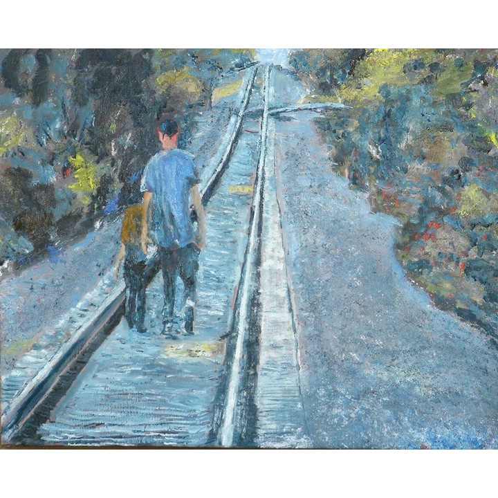 People on Train Tracks Painting
