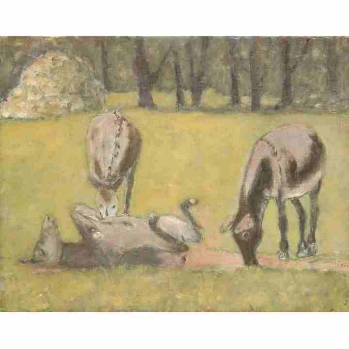 Donkeys in summer field oil painting art for sale original for Original sculptures for sale