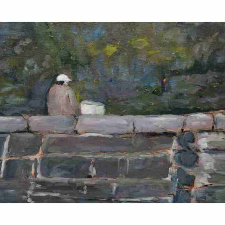 Man on wall oil painting art for sale original for Original oil paintings for sale by artist