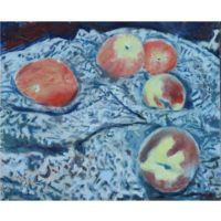 apples-peaches-cloth painting