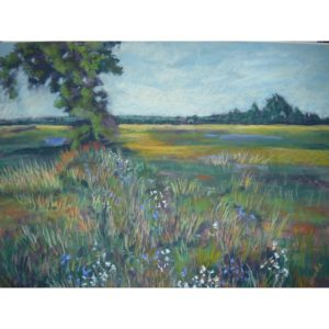 Pasture with Wildflowers in the Fall Original Pastel Painting by Justyna Kostkowska