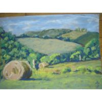 Hay Harvest Tennessee Hills Pastel by Justyna Kostkowska