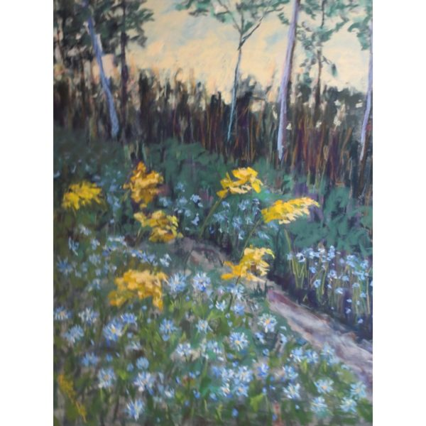 Aster Fall Woods with Goldenrods | Original Pastel Painting by Justyna Kostkowska