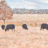 Cows In Field Painting Art