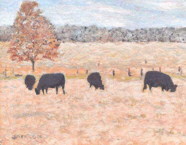 Cows in field painting