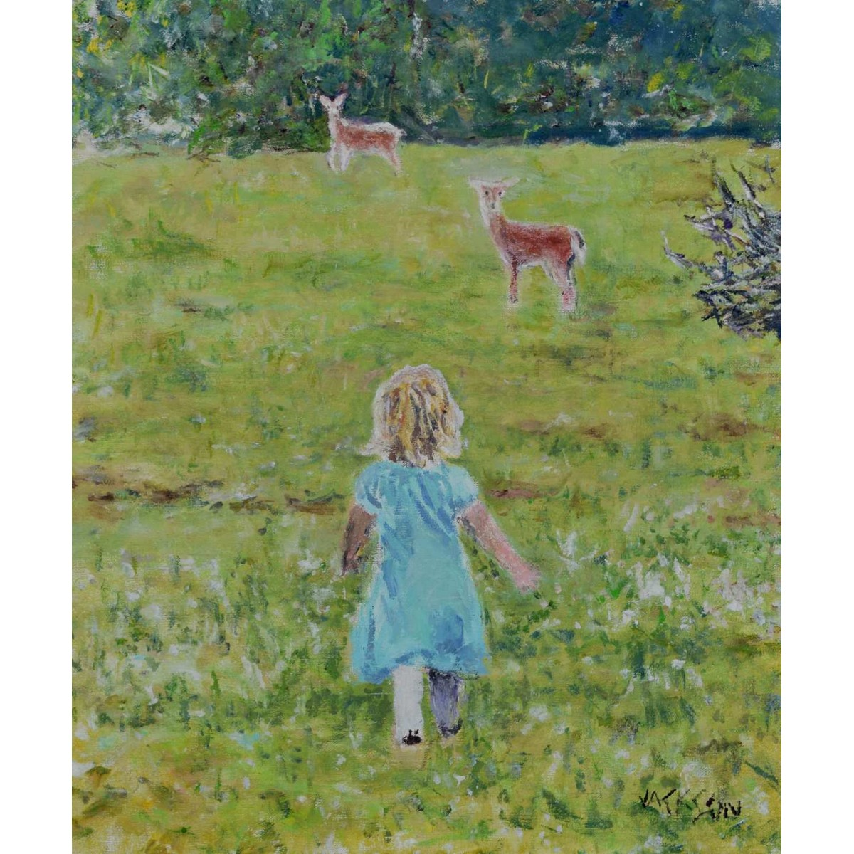 Little Girl with Deer Painting