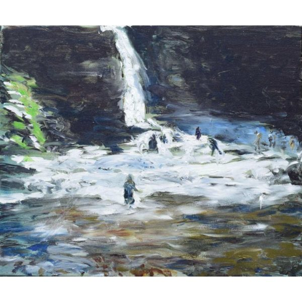 People-and-Waterfall Painting