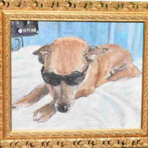 dog on bed painting